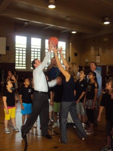 Total Fitness Challenge PS29, Mike with Principal Manfredi and Students